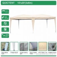 Quictent 10x20 ft Pop Up Canopy Party tent Camping tent Beach Gazebo Heavy duty Height Adjustable Waterproof No Sidewalls Green