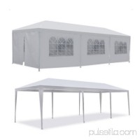 Zimtown 10'x30' canopies Outdoor White Canopy Screen Sun Shelters Houses Gazebos with 8 Removable Sides Sidewalls for BBQ Carport(with 6 sidewalls and 2 doors White)