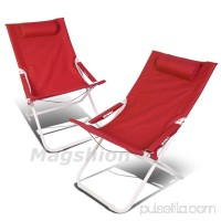 Magshion 4 Position Pair Folding Beach Camping Patio Outdoor Travel Recliners Chair Set of 2 Grey