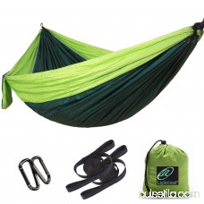 Lightahead Single Parachute Portable Camping Hammock Including 2 Straps with Loops & Carabiners– Heavy Duty Lightweight Nylon,Best Parachute Hammock For Camping,Travel, Beach(Dark Green/Fruit Green) 569751474