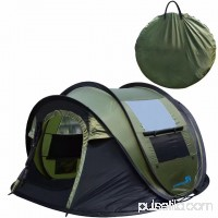 Peaktop Automatic Instant Pop up Camping Tent 4 Person, Waterproof Portable Dome tent - with Vents, Mesh Doors and Windows Green