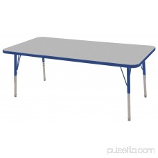 ECR4Kids 30in x 60in Rectangle Everyday T-Mold Adjustable Activity Table Maple/Blue - Chunky Leg