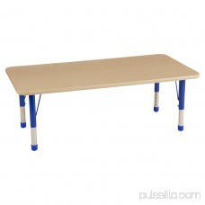ECR4Kids 30in x 60in Rectangle Everyday T-Mold Adjustable Activity Table Maple/Maple/Blue - Chunky Leg