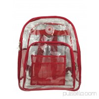 K-Cliffs Heavy Duty Clear Backpack See Through Daypack Student Transparent Bookbag Red   564832182