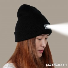 Unisex Knitted Beanie With Built In 5 LED Headlamp Flashlight