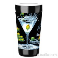 Mugzie 12-Ounce Low Ball Tumbler Drink Cup with Removable Insulated Wetsuit Cover - Michael Godard: Olive Party