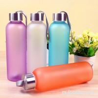 Minch Lanyard Scrub Leakproof Sport Outdoor Water Bottle 600ML ,Purple Easy to Carry Plastic Bottle