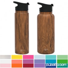 Simple Modern 14 oz Summit Kid's Water Bottle + Extra Lid - Vacuum Insulated Double Wall Small Boy's Thermos 18/8 Stainless Steel Flask - Brown Hydro Travel Mug - Java 567920678