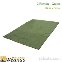 WEANAS 3-4 Person Outdoor Thickened Oxford Fabric Camping Shelter Tent Tarp Canopy Cover Tent GroundsheetBlanket Mat (Green 3-4 Person)