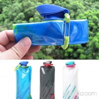 Girl12Queen 700ml Reusable Foldable Flexible Water Bottle Pouch Bag Camping Hiking Tool