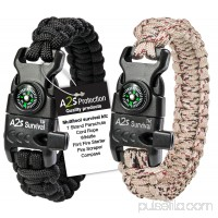 A2S Protection Paracord Bracelet K2-Peak - Survival Gear Kit with Embedded Compass, Fire Starter, Emergency Knife & Whistle Black / Green 8.5""