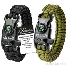 A2S Protection Paracord Bracelet K2-Peak - Survival Gear Kit with Embedded Compass, Fire Starter, Emergency Knife & Whistle Black / Pink 7.5