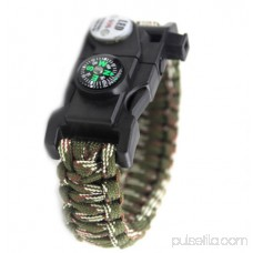 LED Light Outdoor Survival Camo Paracord Bracelet Flint Fire Starter Compass NEW (Brown)