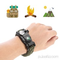 LED Light Outdoor Survival Camo Paracord Bracelet Flint Fire Starter Compass NEW (Green)