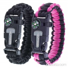 Paracord Planet Multifunctional Survival Adult Paracord Bracelets - 2 Pack - Comes with Compass, Flint, Firestarter, Knife/Scraper & Whistle - Hiking, Fishing, Camping, Emergency & More