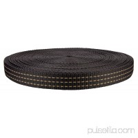 1 Inch Black with Chocolate Stripes Heavy Polypropylene (Polypro) Webbing Closeout