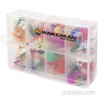 Fly Fishing Lures- 50 Brightly Colored Assorted Dry Insect Flies, Fishing Equipment for Catch and Release in Organizer Tool Box by Wakeman Outdoors   550088226