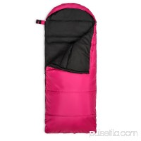 Lucky Bums Youth Muir Sleeping Bag 40°F/5°C with Digital Accessory Pocket and Carry Bag, Pink   568935281